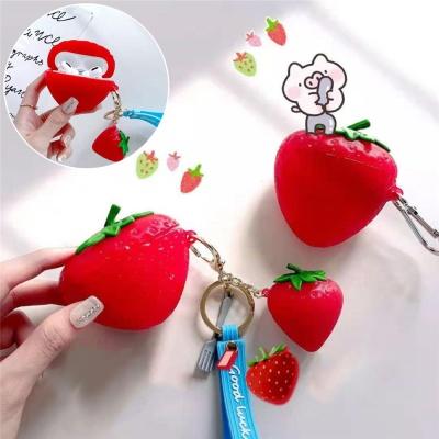 에어팟 프로 1 2세대 입체 딸기 실리콘 스트랩 케이스