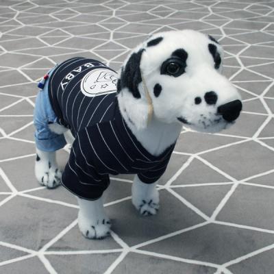 [펫딘]큐티 베어 스트라이프 강아지옷 올인원