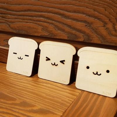 식빵 컵받침 잔받침 우드 컵받침 디자인 랜덤발송