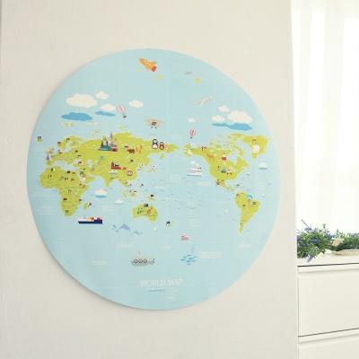 둥근 지구모양 원형 어린이세계지도