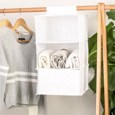 걸이식 패브릭 속옷 옷 수납 다용도 박스 정리함 3단