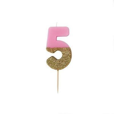 핑크 글리터 숫자초 5