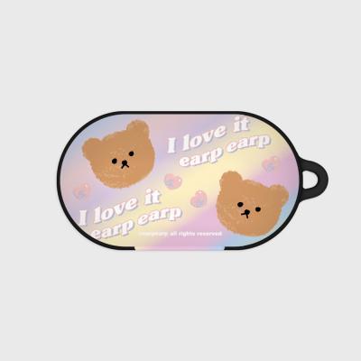 Gradation dot bear-yellow/purple(Buds hard case)