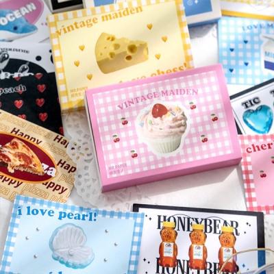 귀여운 레트로 박스형 스티커 40매 다꾸용품