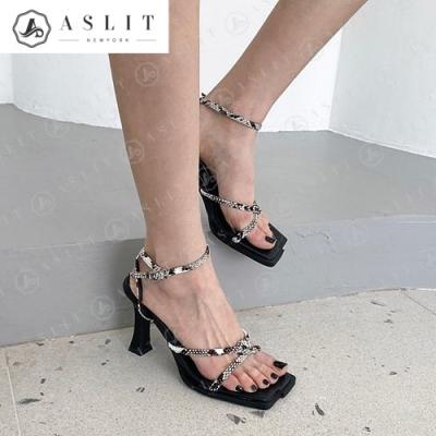 [애슬릿]데일리 여성 매듭 발목 스트랩 샌들 힐 8.5cm