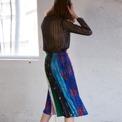 드로잉 플리츠 미디 스커트 drawing pleats medi skirts
