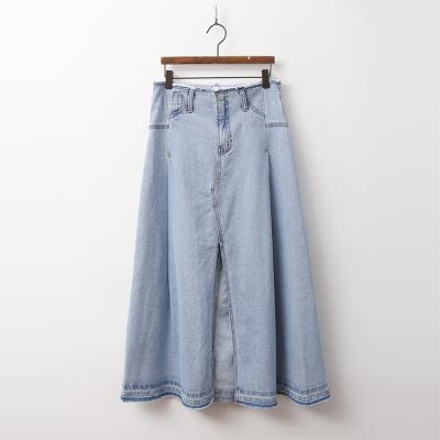 Light Denim A-Line Long Skirt