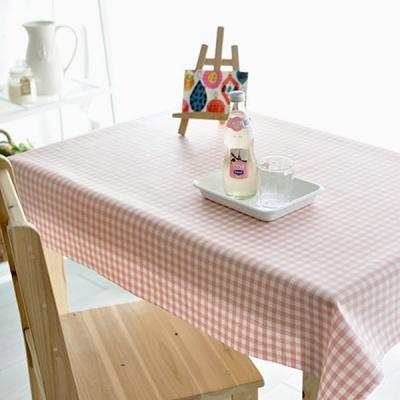 멀티체크 방수식탁보-핑크(2인~10인용)