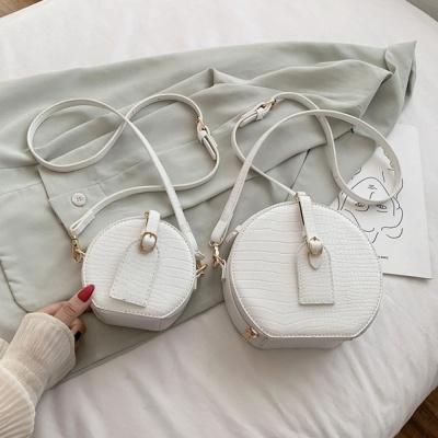 원형 가죽 미니 크로스백 스타일 패션 탬버린 가방