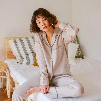 [쿠비카]선염면 긴소매카라형 투피스 여성잠옷 W406