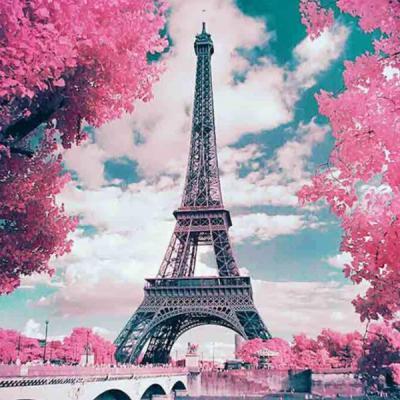 핑크빛 에펠탑 DIY 액자형 캔버스 비즈 큐빅 십자수