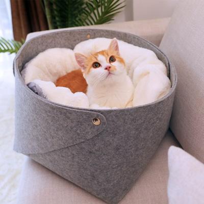 [봉봉펫닷컴] 2중 벨벳 펠트 고양이 바구니 S