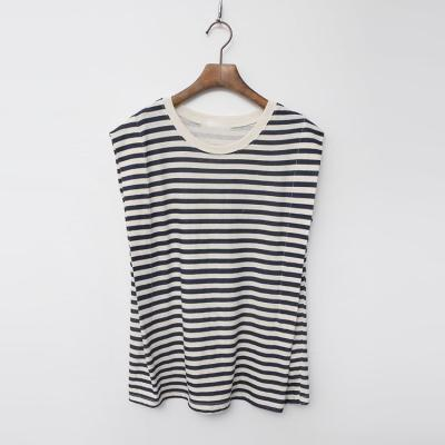 Linen Cotton Stripe Cap Tee - 민소매