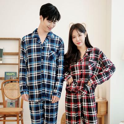 메리핀 피치기모 체크 잠옷 커플 상하세트 블루+레드