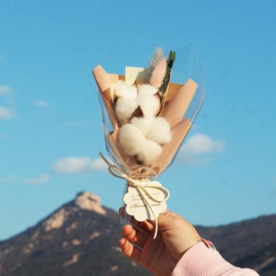 파스텔 목화&라그라스 미니 꽃다발