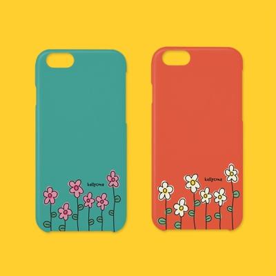 아이폰 민트주황꽃 하드 폰케이스