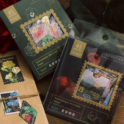 우표모양 플라워 금박 스티커 45매 다꾸용품