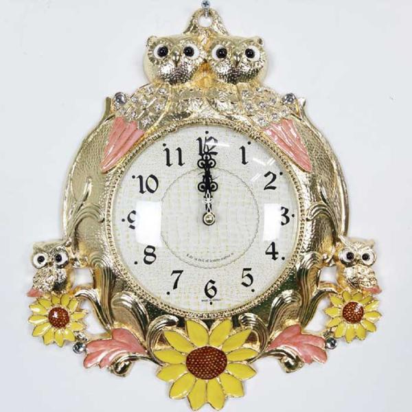 예쁜 엔틱 인테리어 금도금 해바라기 쌍부엉이 벽시계