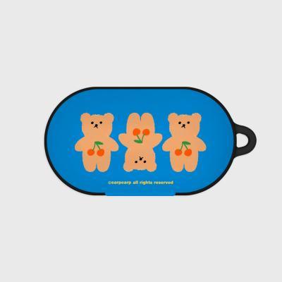Three cherry big bear-blue(Buds hard case)