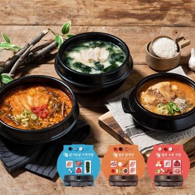 밀스원 간편국밥3종 15팩 미역국 닭개장 수육국밥