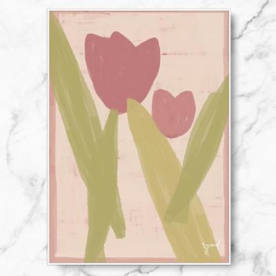 인테리어 명화 캔버스 액자 포스터 핑크 튤립