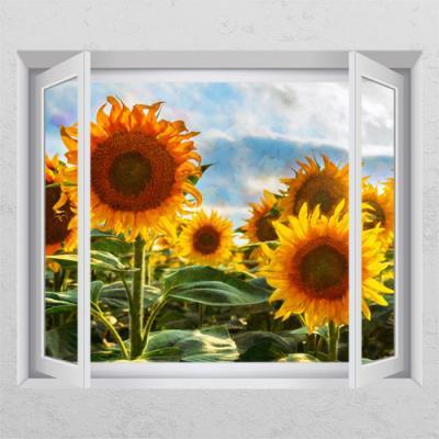 ii925-활짝핀해바라기꽃밭_창문그림액자