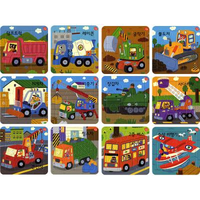 9 16조각 판퍼즐 - 아기지능방 일하는 차 (12종)