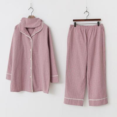 Paper Check Pajama Set - 안대포함