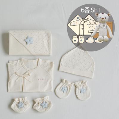 오가닉베이비샤워선물6종세트(의류5종+수면백호인형)
