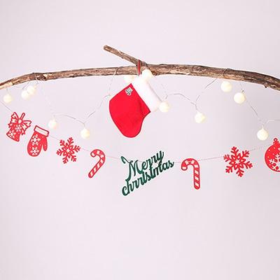 펠트 크리스마스 가랜드-레드설정