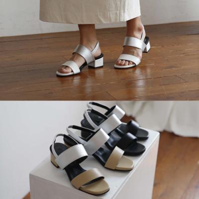 [애슬릿]스퀘어 배색 여성 슬링백 샌들 4cm