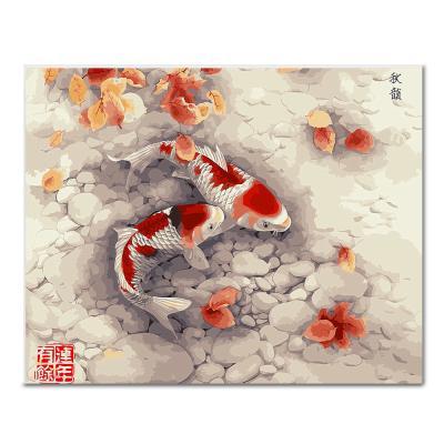 DIY 페인팅 한 쌍의 비단잉어 PEE13 (50x40)
