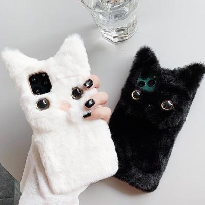 아이폰11 프로 맥스 고양이 캐릭터 겨울 털 폰케이스