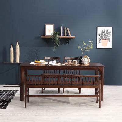 휴치 고무나무 원목 와이드 식탁 세트 4인용 벤치형 B