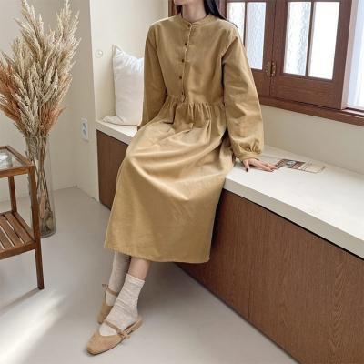Corduroy Button Long Dress