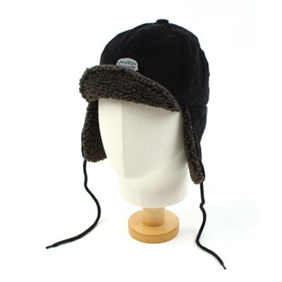 Black Corduroy Earflap Cap