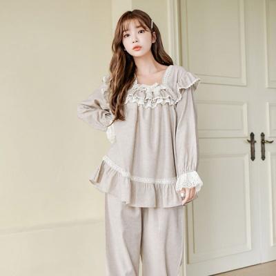 [쿠비카]프릴 레이스 셔링 투피스 여성잠옷 W653