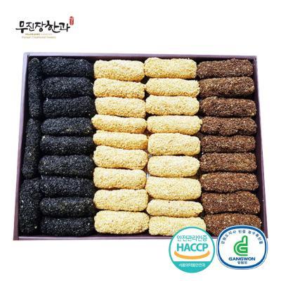강릉사천 찹쌀깨강정 삼색(3단) 2.3kg 100개입