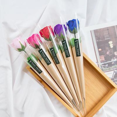 심플 한송이 비누장미 크라프트꽃다발 [5color]