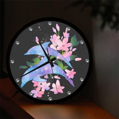 nf274-LED시계액자35R_아름다운꽃과돌고래
