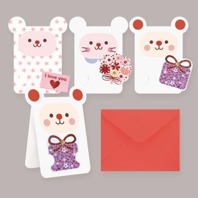 카드/축하카드/감사카드/연하장/미니카드 큐티애니멀 FT5033 (12종 한세트)