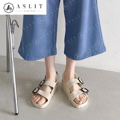 [애슬릿]여성 PVC 버클 슬링백 통굽 여름 샌들 3cm