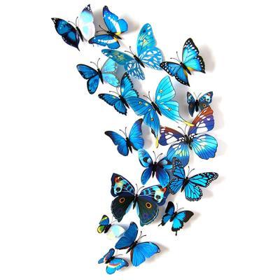 PVC 3D 나비 포인트 스티커 blue 12P