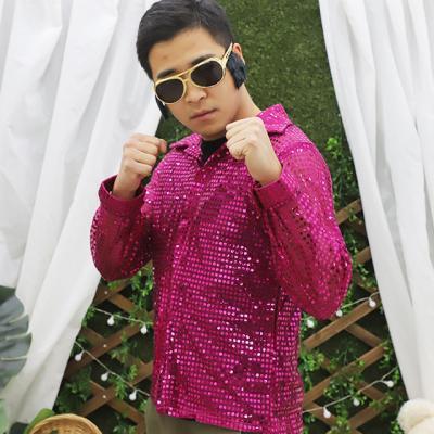 성인 반짝이 셔츠 L (핑크)
