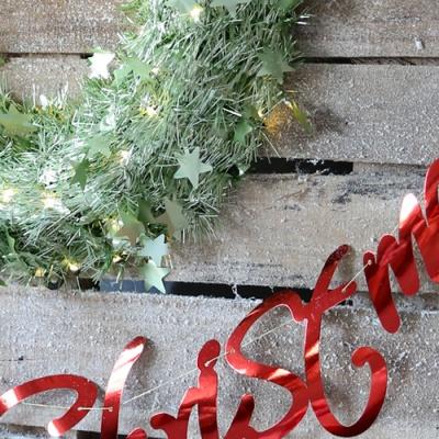 메리크리스마스 샤틴리스 장식세트 (라임그린)