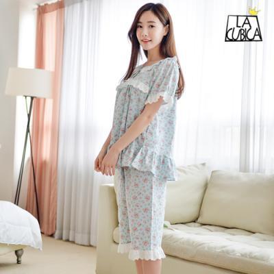 [쿠비카]여성잠옷 펀칭레이스 플라워 반팔투피스 W735
