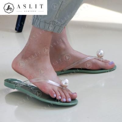 [애슬릿]여성 진주 투명 쪼리 여름 플랫 뮬 슬리퍼
