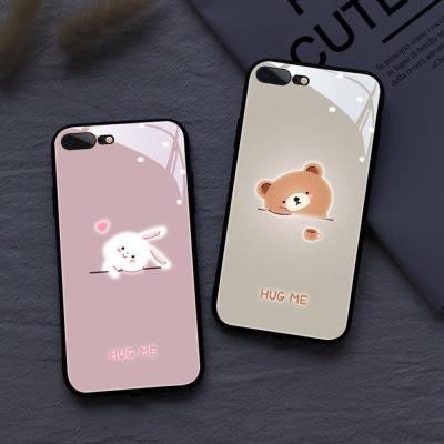 아이폰XR XS MAX 8 7+ 곰 토끼 야광 강화유리 케이스