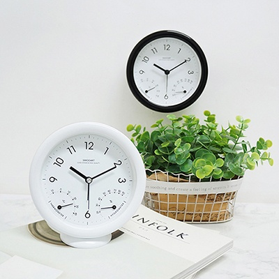 [시우아트] 심플 온습도 무소음 탁상 알람시계