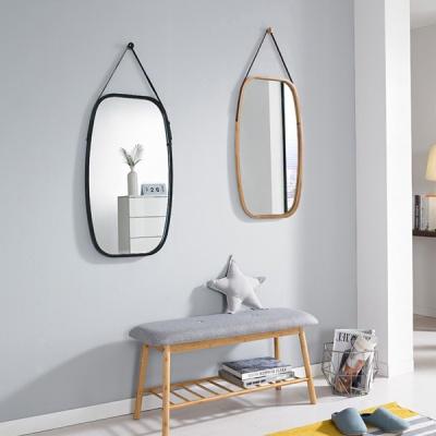 앳홈 가죽 스트랩 원목 직사각 벽거울